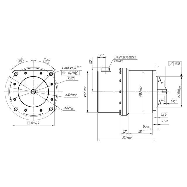 Разработка, проектирование. Электродвигатели ДБУ100-1,0-3,0-27-Д15 со встроенной системой управления в герметичном корпусе. Заказать разработку в России